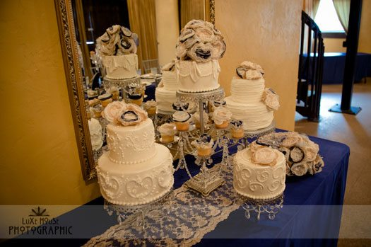 multiple wedding cakes for a dessert table