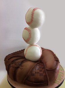 Baseball glove and baseballs birthday cake
