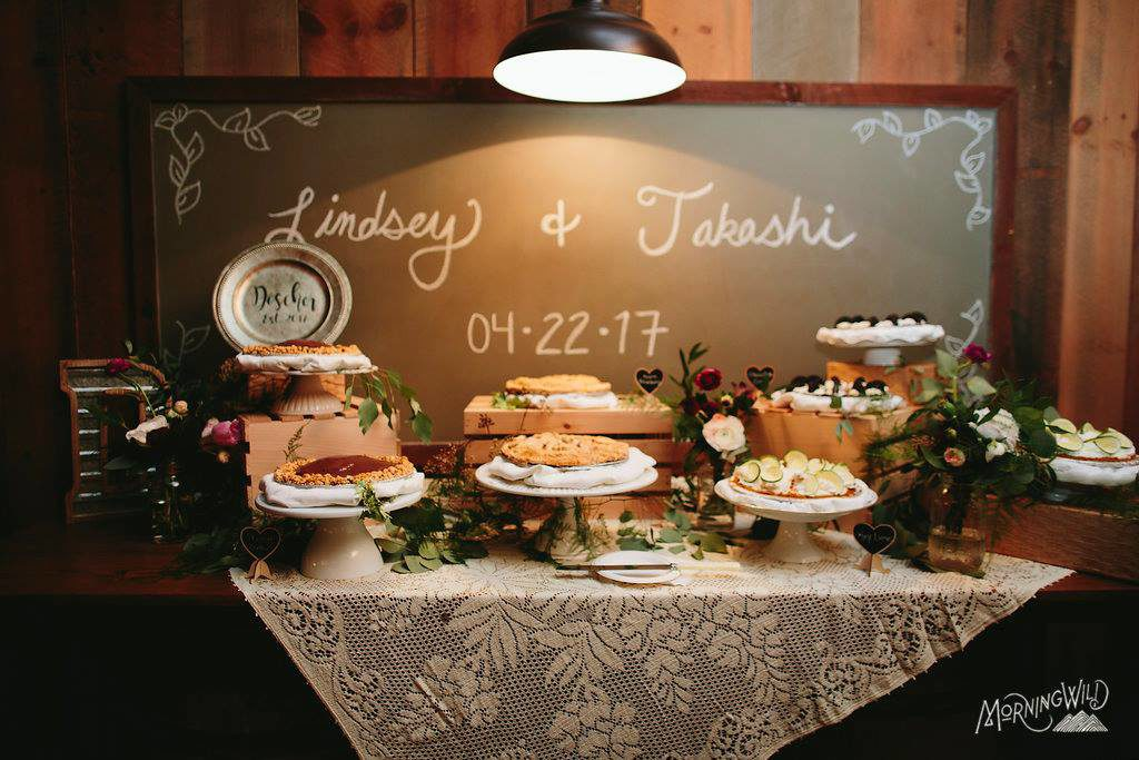 Lindsey and Takeshi's Pie Bar Wedding!  Who says it has to be cake?